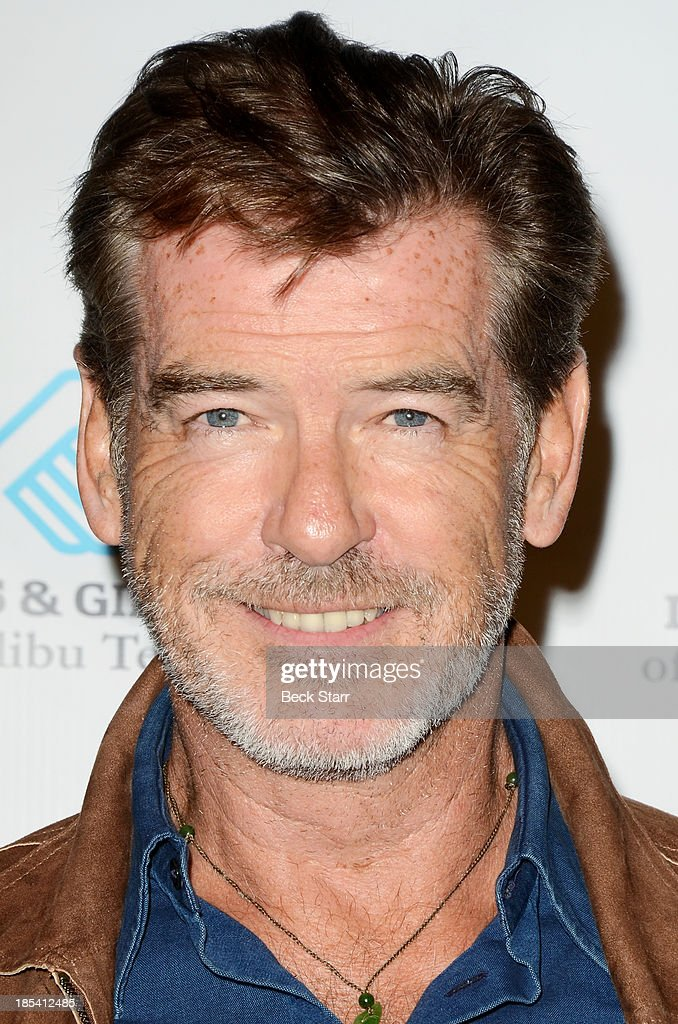 Actor <a gi-track='captionPersonalityLinkClicked' href=/galleries/search?phrase=Pierce+Brosnan&family=editorial&specificpeople=194774 ng-click='$event.stopPropagation()'>Pierce Brosnan</a> arrives at the Malibu Boys And Girls Club Fundraiser to introduce the 2013 BGCM Youth of the Year on October 19, 2013 in Malibu, California.