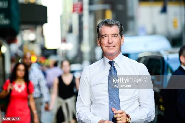Actor Pierce Brosnan enters the 'The Late Show With Stephen Colbert' taping at the Ed Sullivan Theater on September 25 2017 in New York City