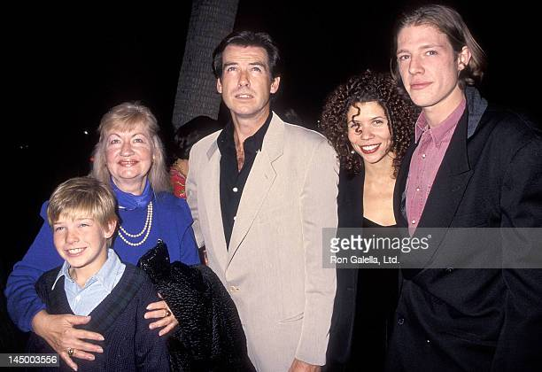 Actor Pierce Brosnan son Christopher Brosnan and son Sean Brosnan attend the 'Mrs Doubtfire' Beverly Hills Premiere on November 22 1993 at the...