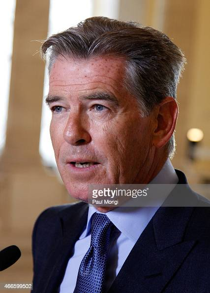 Actor Pierce Brosnan speaks at The American Cancer Society Cancer Action Network and Stand Up To Cancer discussion on the importance of cancer...