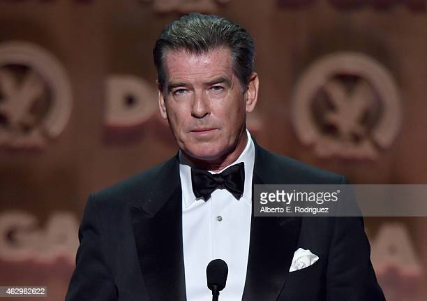 Actor Pierce Brosnan speaks onstage at the 67th Annual Directors Guild Of America Awards at the Hyatt Regency Century Plaza on February 7 2015 in...