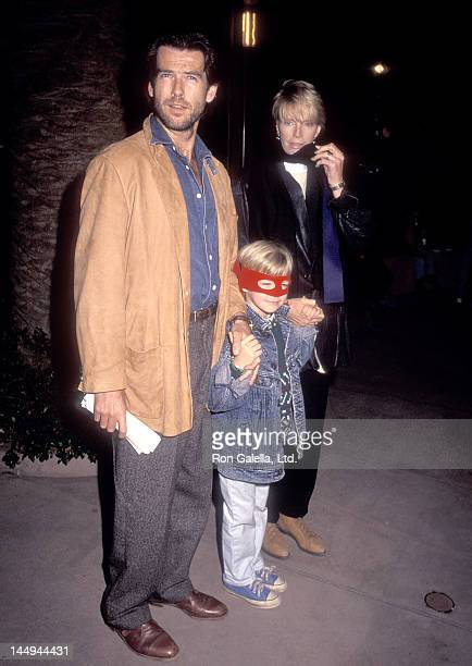 Actor Pierce Brosnan wife Cassandra Harris and son Sean Brosnan attend the PreShow Backstage Pizza Party for the Teenage Mutant Ninja Turtle's...