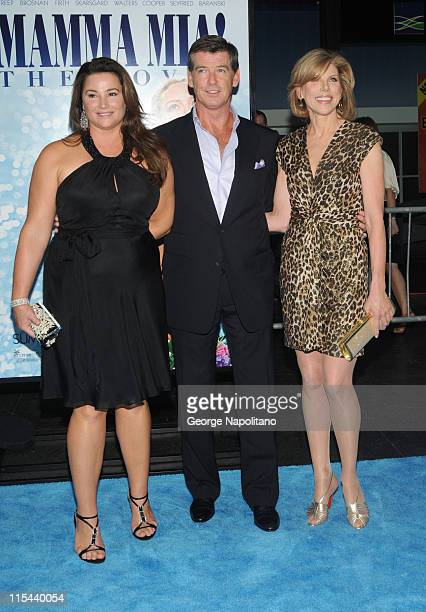 Actor Pierce Brosnan wife Keely ShayeSmith and actress Christine Baranski attend the premiere of 'Mamma Mia' at the Ziegfeld Theatre on July 16 2008...
