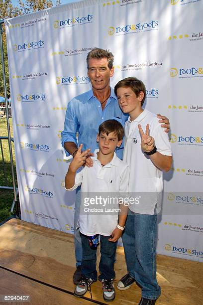 Actor Pierce Brosnan with his sons Paris and Dylan attend Roots Shoots Day of Peace at Griffith Park on September 21 2008 in Los Angeles California