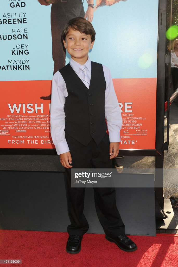 Actor <a gi-track='captionPersonalityLinkClicked' href=/galleries/search?phrase=Pierce+Gagnon&family=editorial&specificpeople=11696840 ng-click='$event.stopPropagation()'>Pierce Gagnon</a> attends the 'Wish I Was Here' Los Angeles premiere on June 23, 2014 at the DGA Theater in Los Angeles, California.