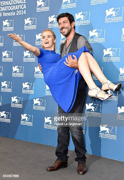 Actor Pierfrancesco Favino and actress Greta Scarano attend the 'Senza Nessuna Pieta' photocall during the 71st Venice Film Festival on August 30...