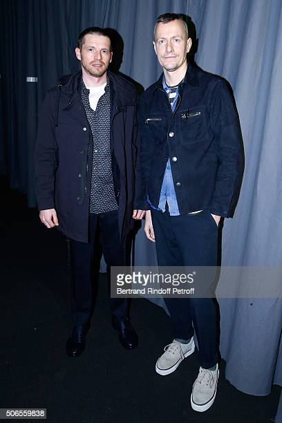 Actor Pierre Deladonchamps and Stylist Lucas Ossendrijver attend the Lanvin Menswear Fall/Winter 20162017 show as part of Paris Fashion Week on...