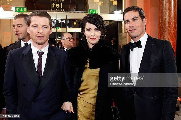 Actor Pierre Deladonchamps Director and Actress Zabou Breitman and PDG of Radio France Mathieu Gallet attend the Cesar Film Award 2016 at Theatre du...