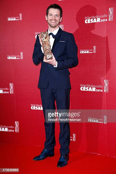 Actor Pierre Deladonchamps winner of Most Promising Actor award poses in the awards room during the 39th Cesar Film Awards 2014 at Theatre du...