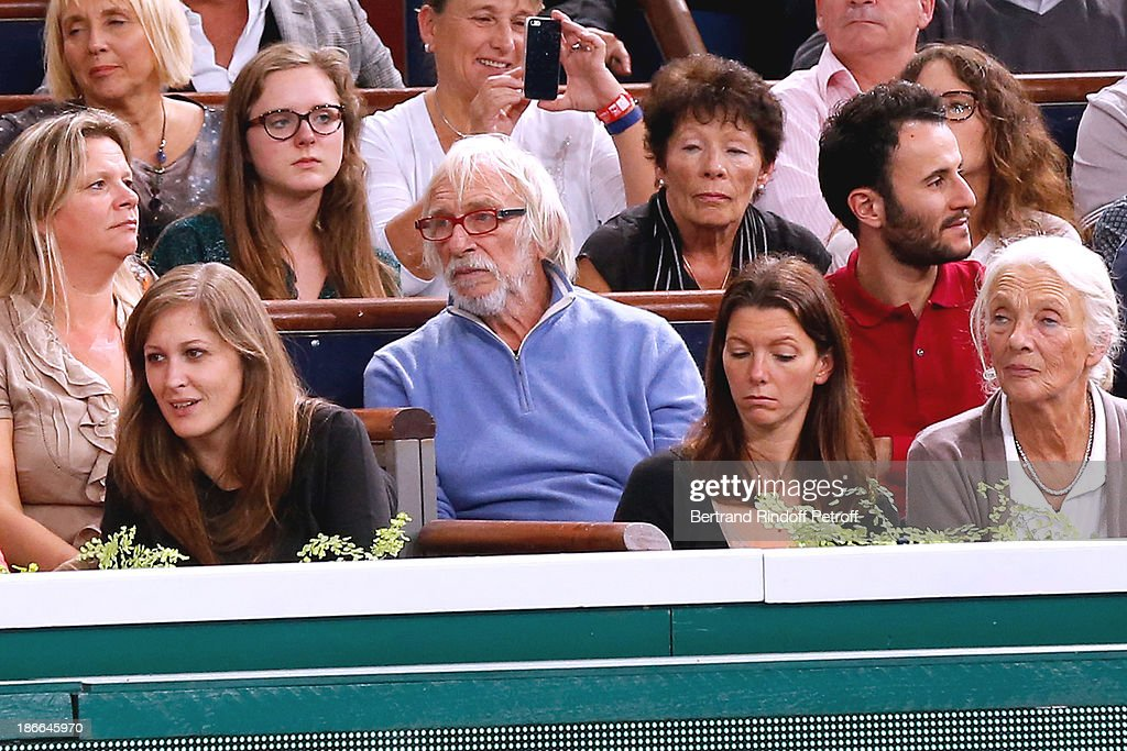 Actor Pierre Richard (C) attends the match between Novak Djokovic of Serbia and Roger Federer of Switzerland during day six of the BNP Paribas Tennis Masters, held at Bercy on November 2, 2013 in Paris, France.