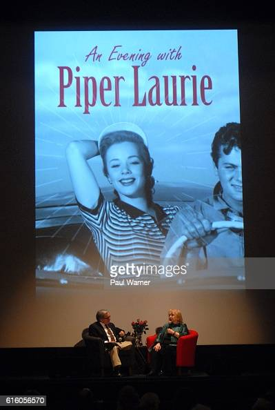 Actor Piper Laurie is interviewed by Detroit Institute of the Arts Film Theater manager Elliot Wilhelm during A Evening with Piper Laurie at the...