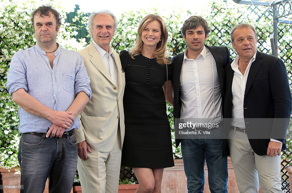Actor <a gi-track='captionPersonalityLinkClicked' href=/galleries/search?phrase=Pippo+Delbono&family=editorial&specificpeople=2823314 ng-click='$event.stopPropagation()'>Pippo Delbono</a>, director Marco Risi, actress <a gi-track='captionPersonalityLinkClicked' href=/galleries/search?phrase=Eva+Herzigova&family=editorial&specificpeople=156428 ng-click='$event.stopPropagation()'>Eva Herzigova</a>, actors <a gi-track='captionPersonalityLinkClicked' href=/galleries/search?phrase=Luca+Argentero&family=editorial&specificpeople=3966791 ng-click='$event.stopPropagation()'>Luca Argentero</a> and Claudio Amendola attend 'Cha Cha Cha' photocall at Hotel Bernini Bristol on June 13, 2013 in Rome, Italy.
