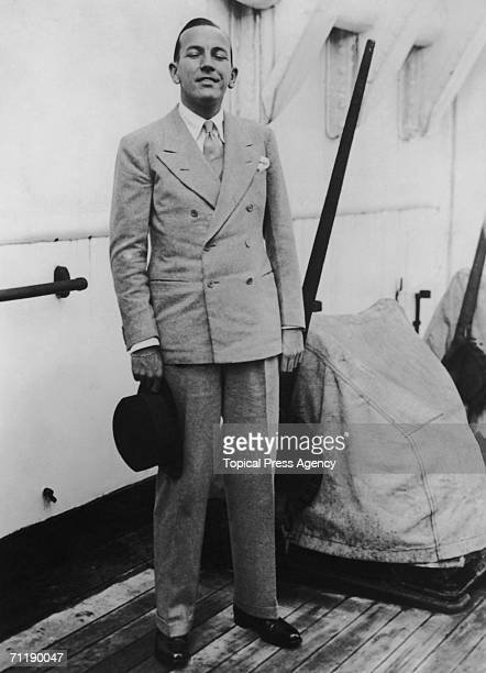Actor playwright and songwriter Noel Coward on the deck of a liner 4th October 1933