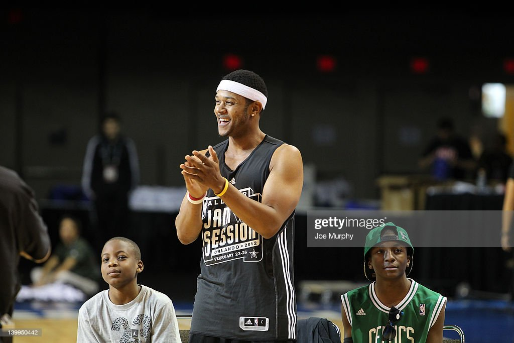 Actor <a gi-track='captionPersonalityLinkClicked' href=/galleries/search?phrase=Pooch+Hall&family=editorial&specificpeople=879951 ng-click='$event.stopPropagation()'>Pooch Hall</a> is announced during the Celebrity Shooting Stars on center court at Jam Session during the NBA All-Star Weekend on February 26, 2012 at the Orange County Convention Center in Orlando, Florida.