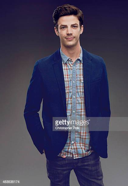 Actor poses Grant Gustin for a portrait at CW network the Summer 2014 TCAs on July 18 2014 in Beverly Hills California