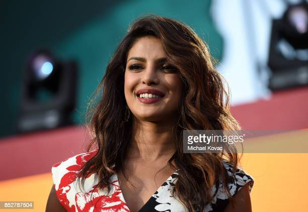Actor Priyanka Chopra presents onstage during the 2017 Global Citizen Festival in Central Park to End Extreme Poverty by 2030 at Central Park on...