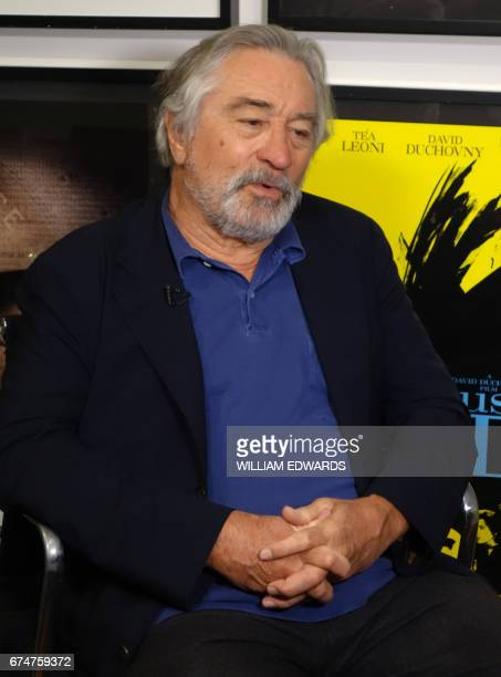 US actor producer and director Robert De Niro answers questions during an interview with Agence FrancePresse in New York on April 19 2017 / AFP PHOTO...