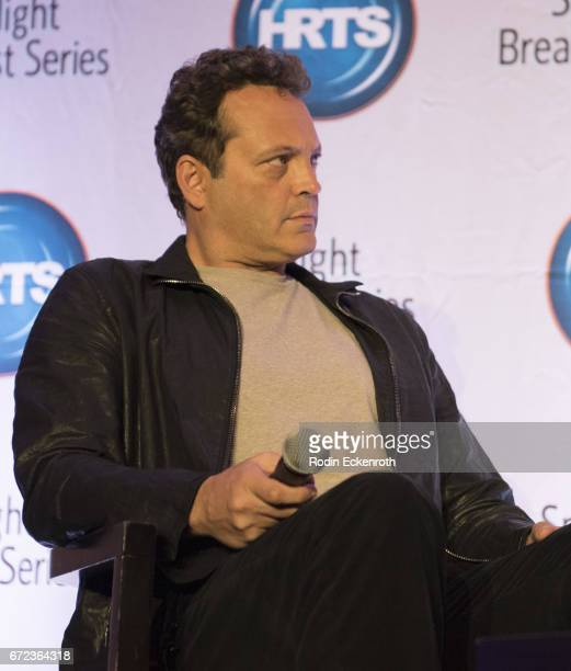 Actor producer and screenwriter Vince Vaughn speaks onstage at the Hollywood Radio and Television Society's Spotlight Breakfast Series at The Beverly...