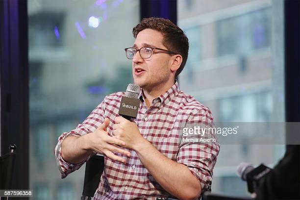 Actor/ producer Josh Horowitz discusses a new project called 'Junketeers' at AOL HQ on August 8 2016 in New York City