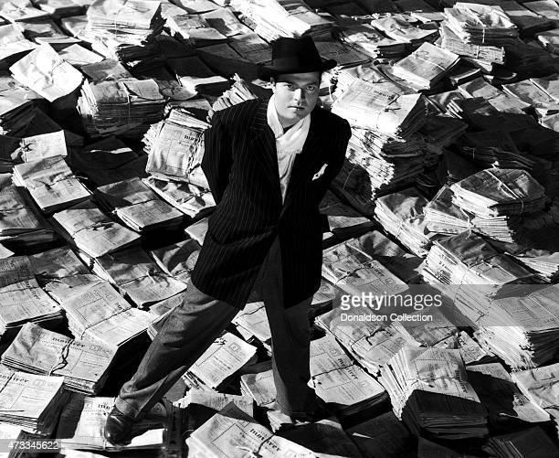 Actor producer writer and director Orson Welles poses as Charles Foster Kane in a scene from the RKO film 'Citizen Kane' in 1941 in Los Angeles...