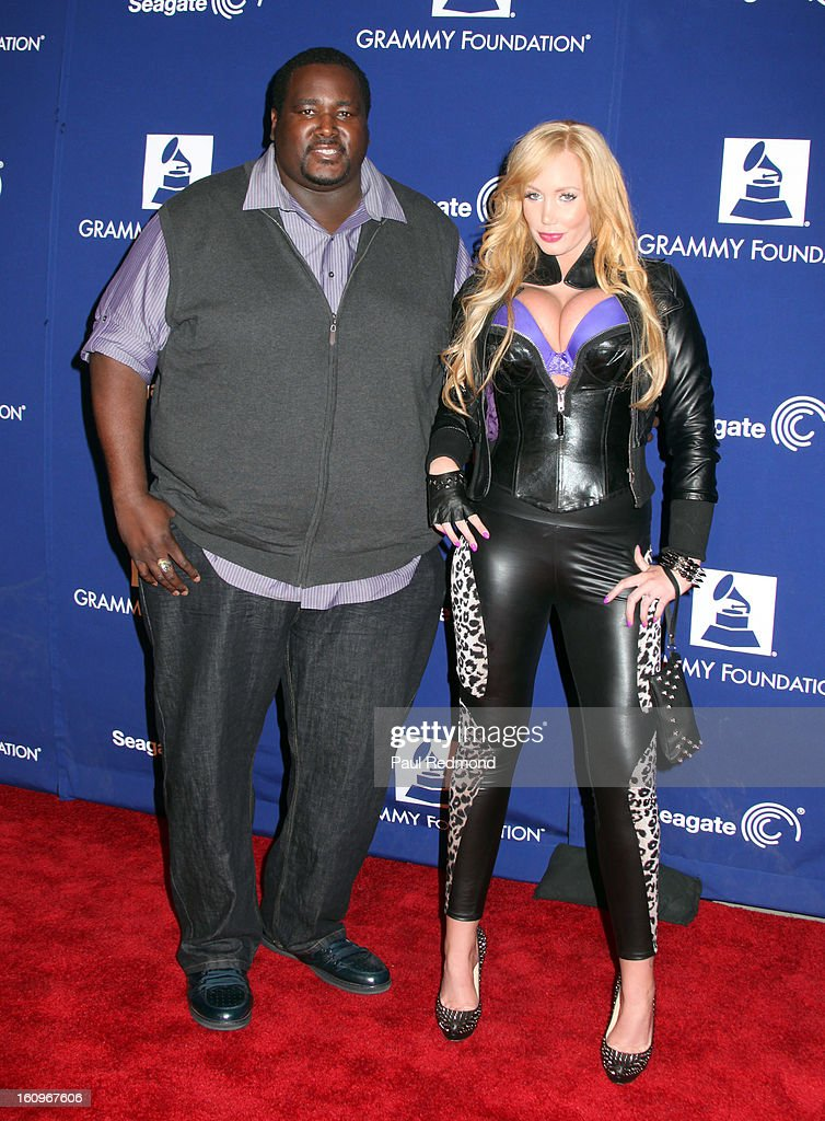 Actor <a gi-track='captionPersonalityLinkClicked' href=/galleries/search?phrase=Quinton+Aaron&family=editorial&specificpeople=6527390 ng-click='$event.stopPropagation()'>Quinton Aaron</a> and Jenna Bently arrives at the Grammy Foundation's 15th Annual Music Preservation Project at Saban Theatre on February 7, 2013 in Beverly Hills, California.