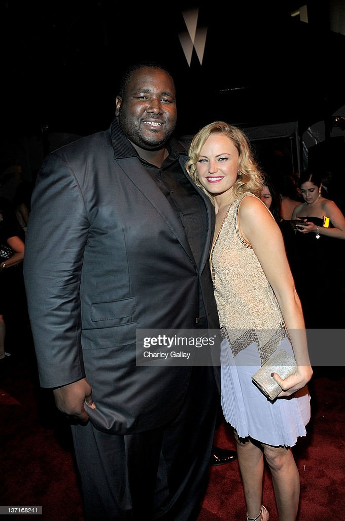 Actor <a gi-track='captionPersonalityLinkClicked' href=/galleries/search?phrase=Quinton+Aaron&family=editorial&specificpeople=6527390 ng-click='$event.stopPropagation()'>Quinton Aaron</a> (L) and <a gi-track='captionPersonalityLinkClicked' href=/galleries/search?phrase=Malin+Akerman&family=editorial&specificpeople=598245 ng-click='$event.stopPropagation()'>Malin Akerman</a> attend The Weinstein Company's 2012 Golden Globe Awards After Party with Chopard, Marie Claire and HP at The Beverly Hilton hotel on January 15, 2012 in Beverly Hills, California.