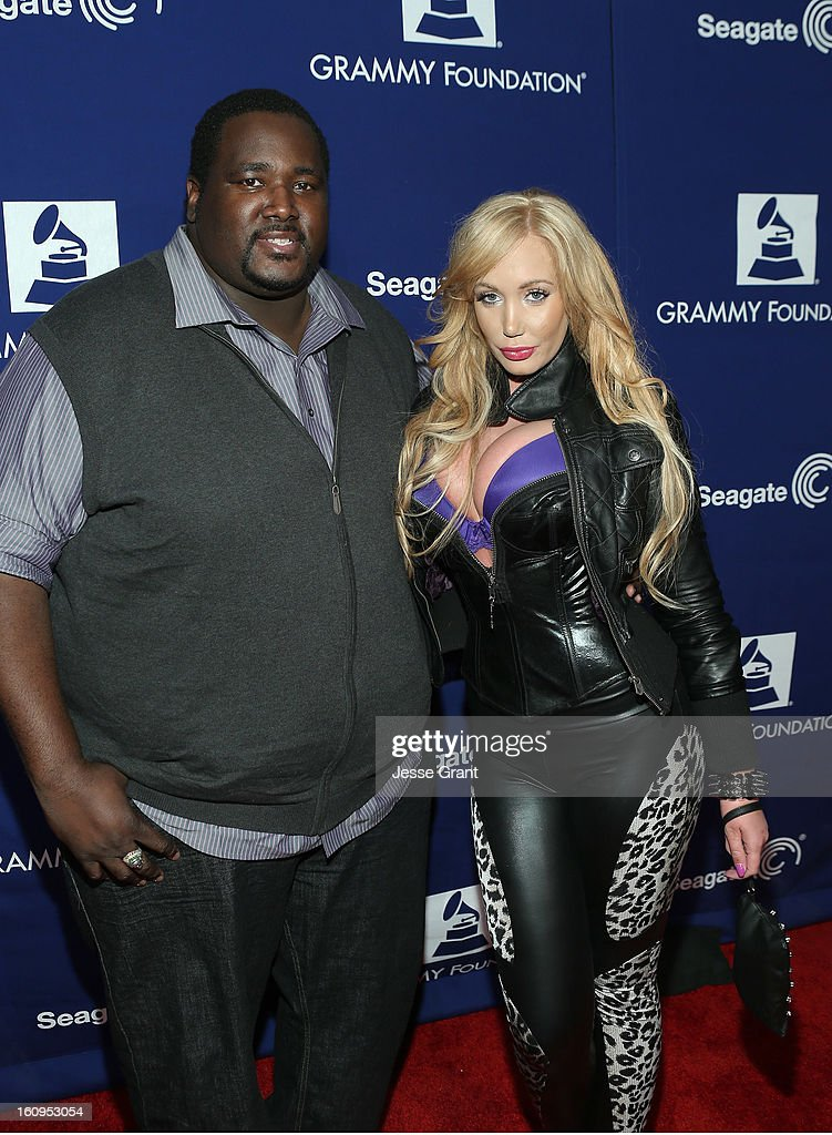 Actor Quinton Aaron and model Jenna Bentley attend The 55th Annual GRAMMY Awards - Music Preservation Project 'Play It Forward' Celebration highlighting The GRAMMY Foundations ongoing work to safegaurd music's history at the Saban Theatre on February 7, 2013 in Los Angeles, California.