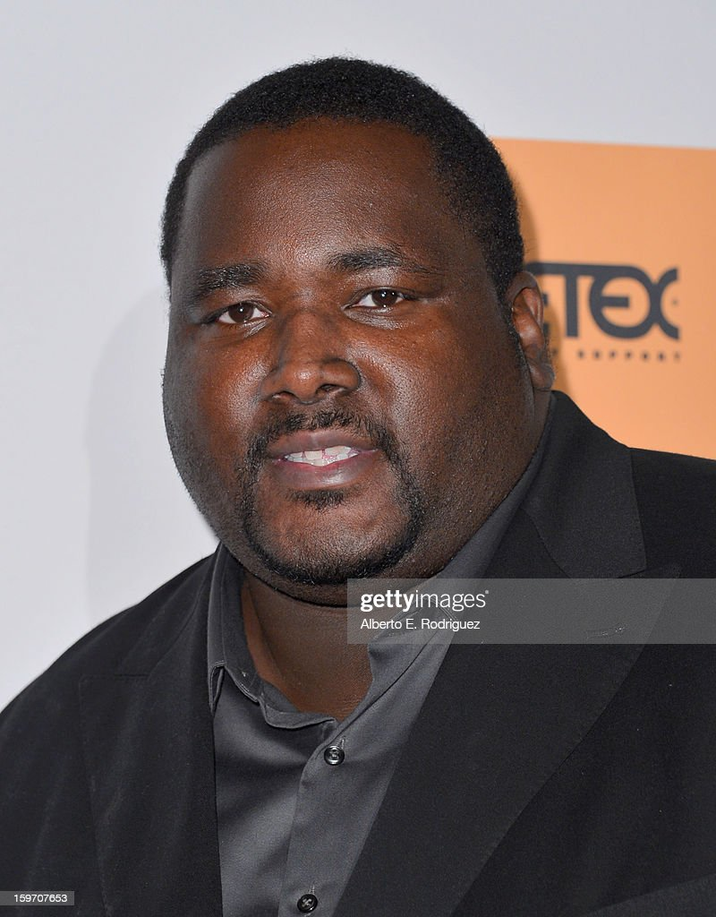 Actor <a gi-track='captionPersonalityLinkClicked' href=/galleries/search?phrase=Quinton+Aaron&family=editorial&specificpeople=6527390 ng-click='$event.stopPropagation()'>Quinton Aaron</a> arrives to the 10th Annual Living Legends of Aviation Awards at The Beverly Hilton Hotel on January 18, 2013 in Beverly Hills, California.