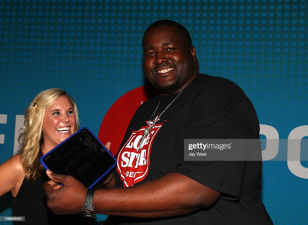 Actor <a gi-track='captionPersonalityLinkClicked' href=/galleries/search?phrase=Quinton+Aaron&family=editorial&specificpeople=6527390 ng-click='$event.stopPropagation()'>Quinton Aaron</a> poses with Motorola Xoom at the Maxim Party Powered by Motorola Xoom at Centennial Hall at Fair Park on February 5, 2011 in Dallas, Texas.