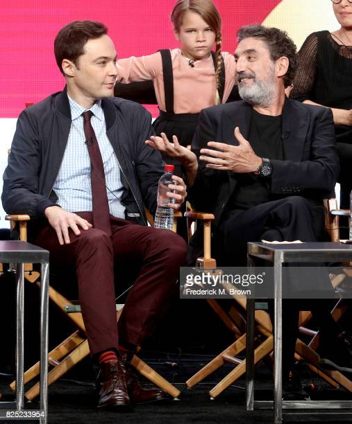 Actor Raegan Revord and executive producer/narrator Jim Parsons and executive producer/cocreator Chuck Lorre of 'Young Sheldon' speak onstage during...