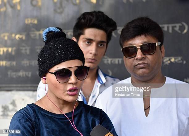 TV actor Rakhi Sawant at hospital after Pratyusha Banerjee allegedly committed suicide on Friday on April 2 2016 in Mumbai India Soma Banerjee blamed...