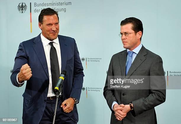 Actor Ralf Moeller gestures during his meeting with German Minister of Defense Karl Theodor zu Guttenberg at Bendlerblock on November 18 2009 in...