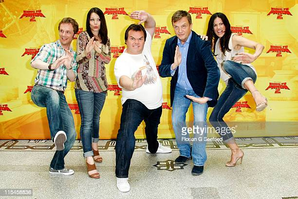 Actor Ralf Schmitz actress Cosma Shiva Hagen actor Jack Black actor Hape Kerkeling and actress Bettina Zimmermann attend the Photocall of 'Kung Fu...