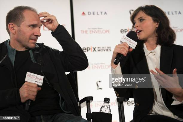 Actor Ralph Fiennes and actress Felicity Jones attends The LA Times' Envelope Screening and QA of The 'Invisible Woman' held at ArcLight Sherman Oaks...