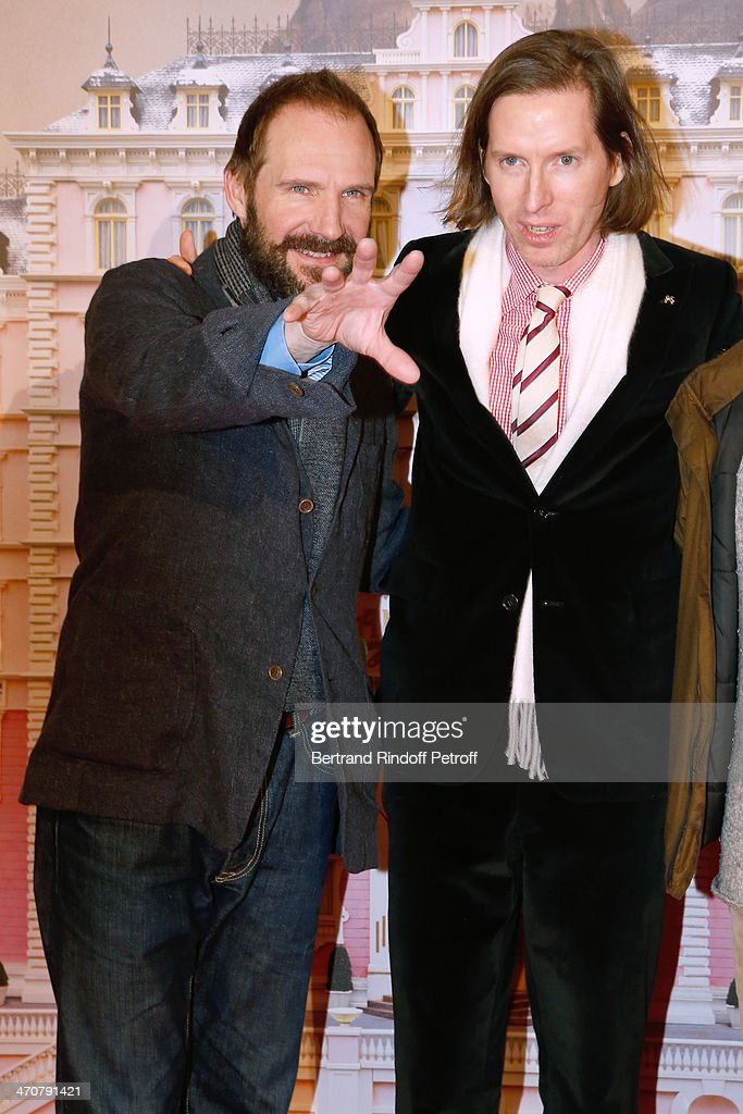 Actor Ralph Fiennes and director of the movie Wes Anderson attend 'The Grand Budapest Hotel' Paris Premiere at Cinema Gaumont Opera Capucines on February 20, 2014 in Paris, France.