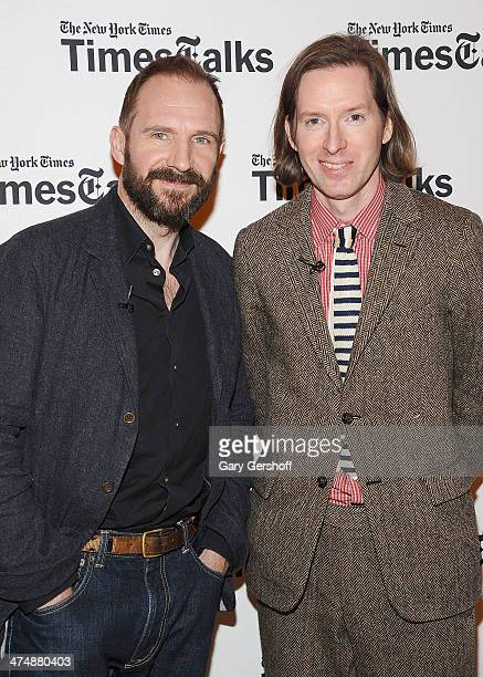Actor Ralph Fiennes and director Wes Anderson attend TimesTalk Presents An Evening With Wes Anderson And Ralph Fiennes at The Times Center on...