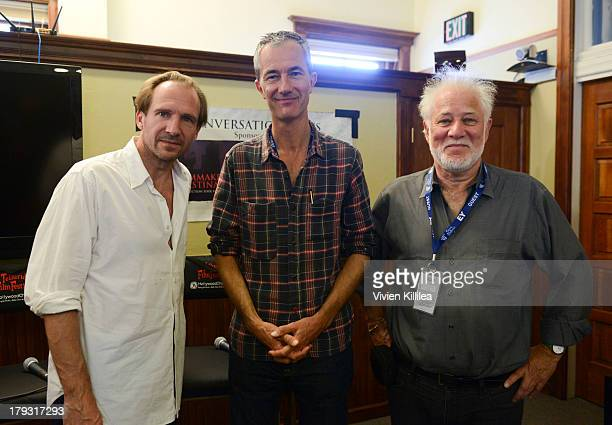 Actor Ralph Fiennes and directors Geoff Dyer and Michael Ondaatje attend Conversations at the County Courthouse at the 2013 Telluride Film Festival...