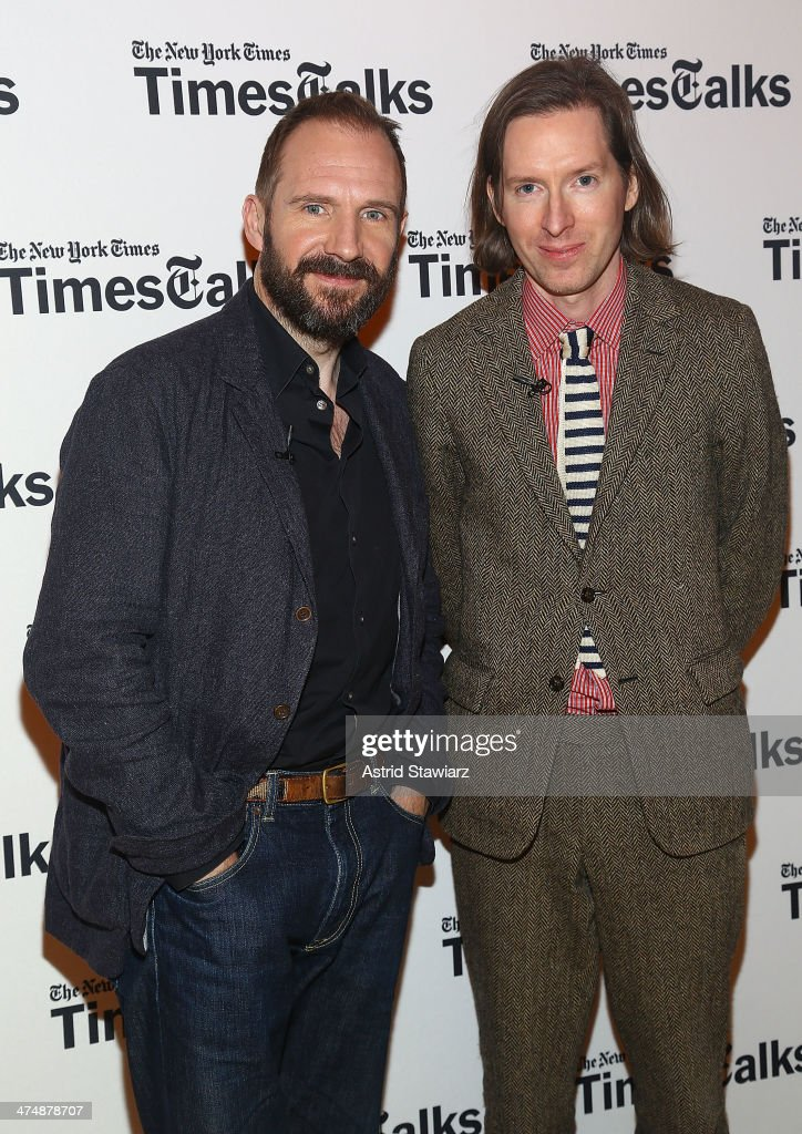 Actor Ralph Fiennes and filmmaker Wes Anderson attend TimesTalk Presents An Evening With Wes Anderson And Ralph Fiennes at The Times Center on...