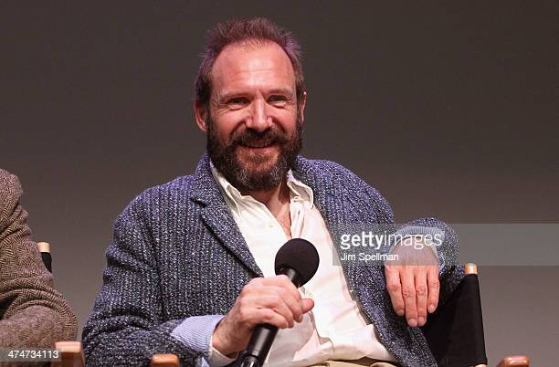 Actor Ralph Fiennes attends 'Meet The Filmmakers' at Apple Store Soho on February 24 2014 in New York City
