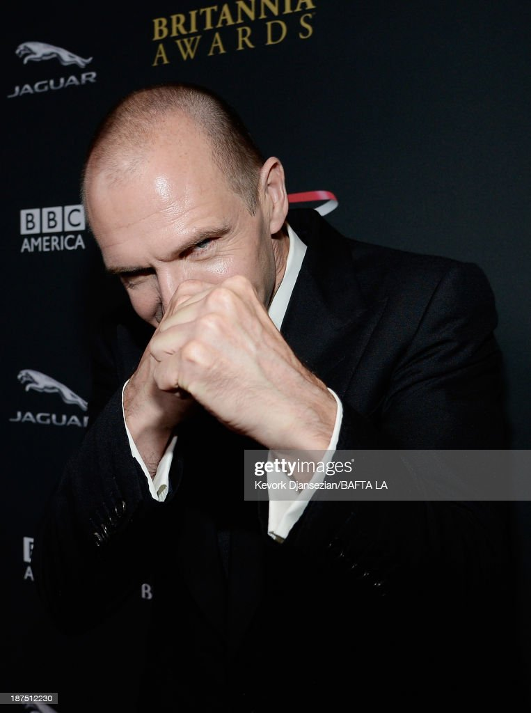 Actor Ralph Fiennes attends the 2013 BAFTA LA Jaguar Britannia Awards presented by BBC America at The Beverly Hilton Hotel on November 9 2013 in...