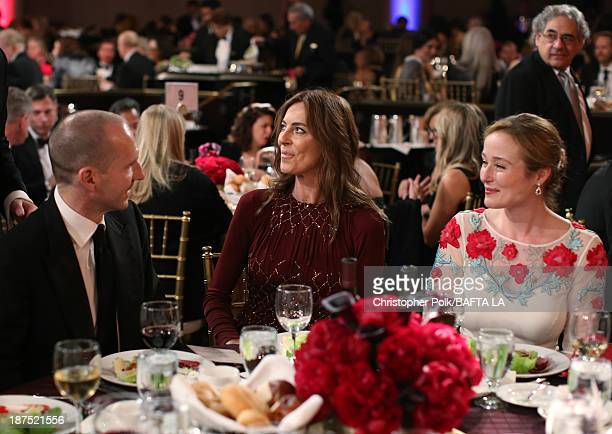 Actor Ralph Fiennes director Kathryn Bigelow and actress Jennifer Ehle attend the 2013 BAFTA LA Jaguar Britannia Awards presented by BBC America at...