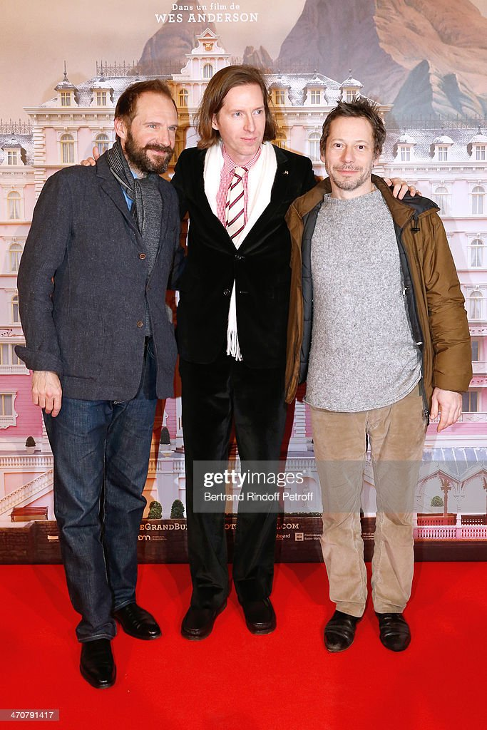 Actor Ralph Fiennes, director of the movie Wes Anderson and actor Mathieu Amalric attend 'The Grand Budapest Hotel' Paris Premiere at Cinema Gaumont Opera Capucines on February 20, 2014 in Paris, France.