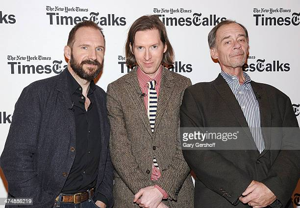 Actor Ralph Fiennes director Wes Anderson and moderator David Carr attend TimesTalk Presents An Evening With Wes Anderson And Ralph Fiennes at The...
