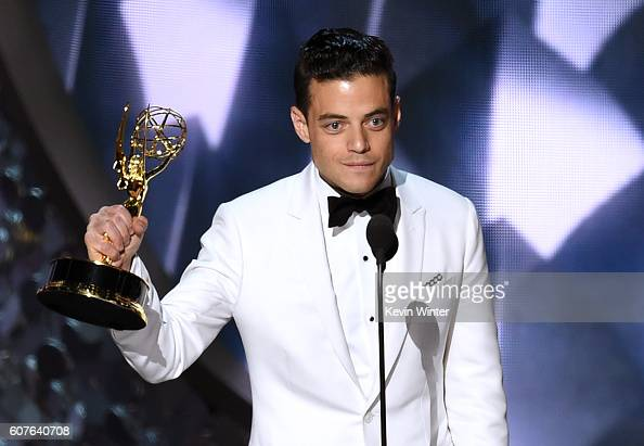 Actor Rami Malek accepts Outstanding Lead Actor in a Drama Series for 'Mr Robot' onstage during the 68th Annual Primetime Emmy Awards at Microsoft...
