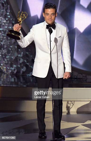 Actor Rami Malek accepts the Outstanding Lead Actor in a Drama Series award for 'Mr Robot' onstage during the 68th Annual Primetime Emmy Awards at...