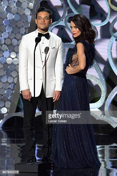 Actor Rami Malek and actress Abigail Spencer speak onstage during the 68th Annual Primetime Emmy Awards at Microsoft Theater on September 18 2016 in...