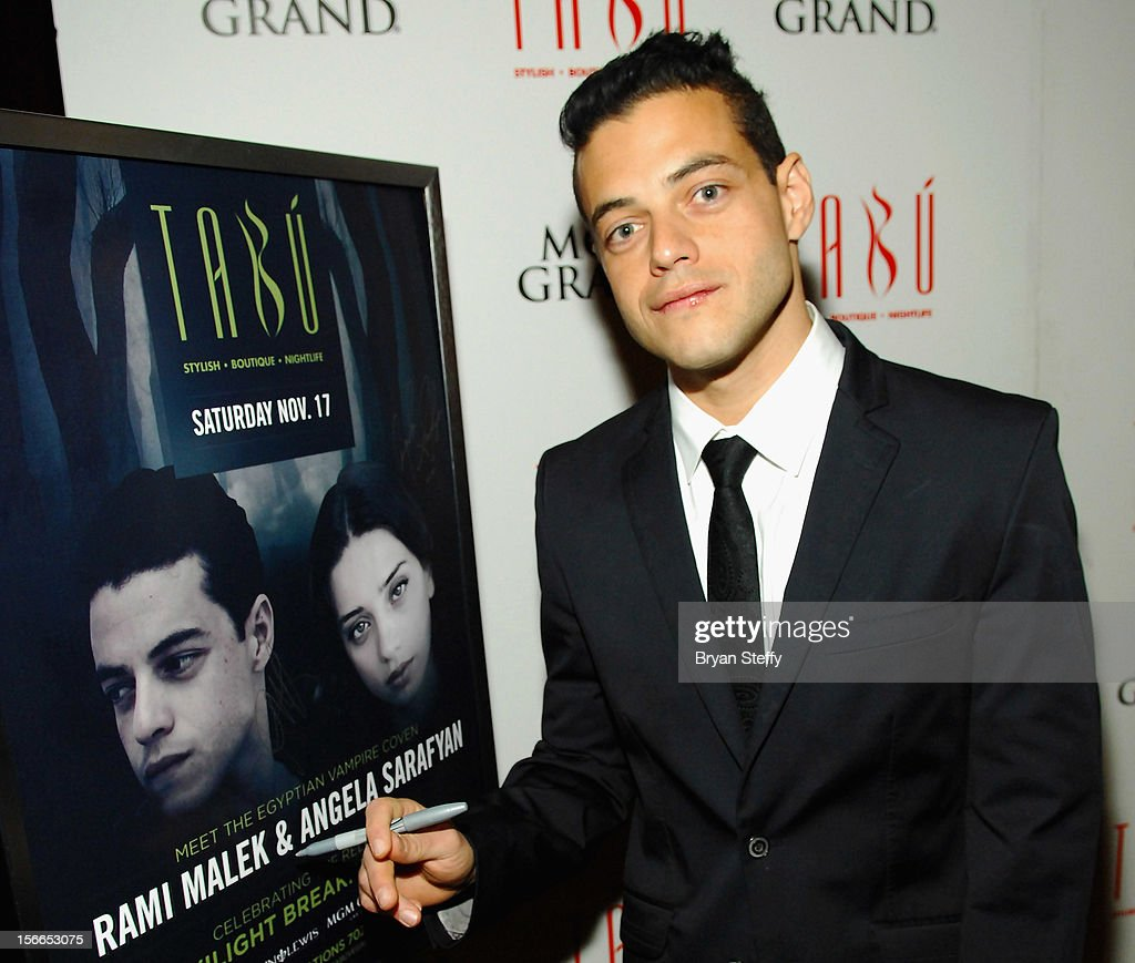 Actor <a gi-track='captionPersonalityLinkClicked' href=/galleries/search?phrase=Rami+Malek&family=editorial&specificpeople=2194697 ng-click='$event.stopPropagation()'>Rami Malek</a> arrives at the Tabu Ultra Lounge at the MGM Grand Hotel/Casino on November 17, 2012 in Las Vegas, Nevada.