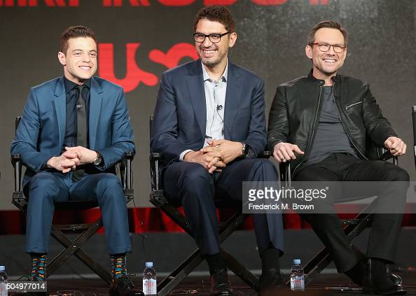 Actor Rami Malek creator/director Sam Esmail and actor Christian Slater speak onstage during the 'Mr Robot' panel discussion at the NBCUniversal...