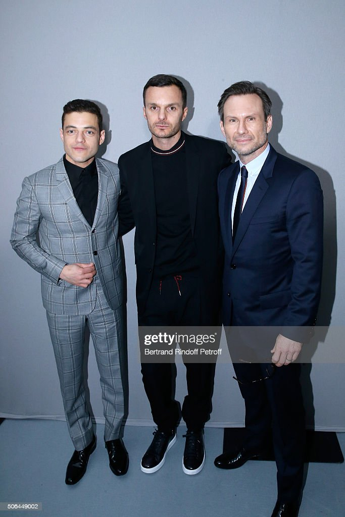 Actor <a gi-track='captionPersonalityLinkClicked' href=/galleries/search?phrase=Rami+Malek&family=editorial&specificpeople=2194697 ng-click='$event.stopPropagation()'>Rami Malek</a>, Fashion designer <a gi-track='captionPersonalityLinkClicked' href=/galleries/search?phrase=Kris+Van+Assche+-+Fashion+Designer&family=editorial&specificpeople=5744788 ng-click='$event.stopPropagation()'>Kris Van Assche</a> and Actor <a gi-track='captionPersonalityLinkClicked' href=/galleries/search?phrase=Christian+Slater&family=editorial&specificpeople=201651 ng-click='$event.stopPropagation()'>Christian Slater</a> pose Backstage after the Dior Homme Menswear Fall/Winter 2016-2017 show as part of Paris Fashion Week on January 23, 2016 in Paris, France.