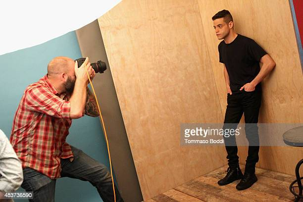 Actor Rami Malek of USA Network's 'Mr Robot' attends Behind The Scenes Of The Getty Images Portrait Studio Powered By Samsung Galaxy At 2015 Summer...
